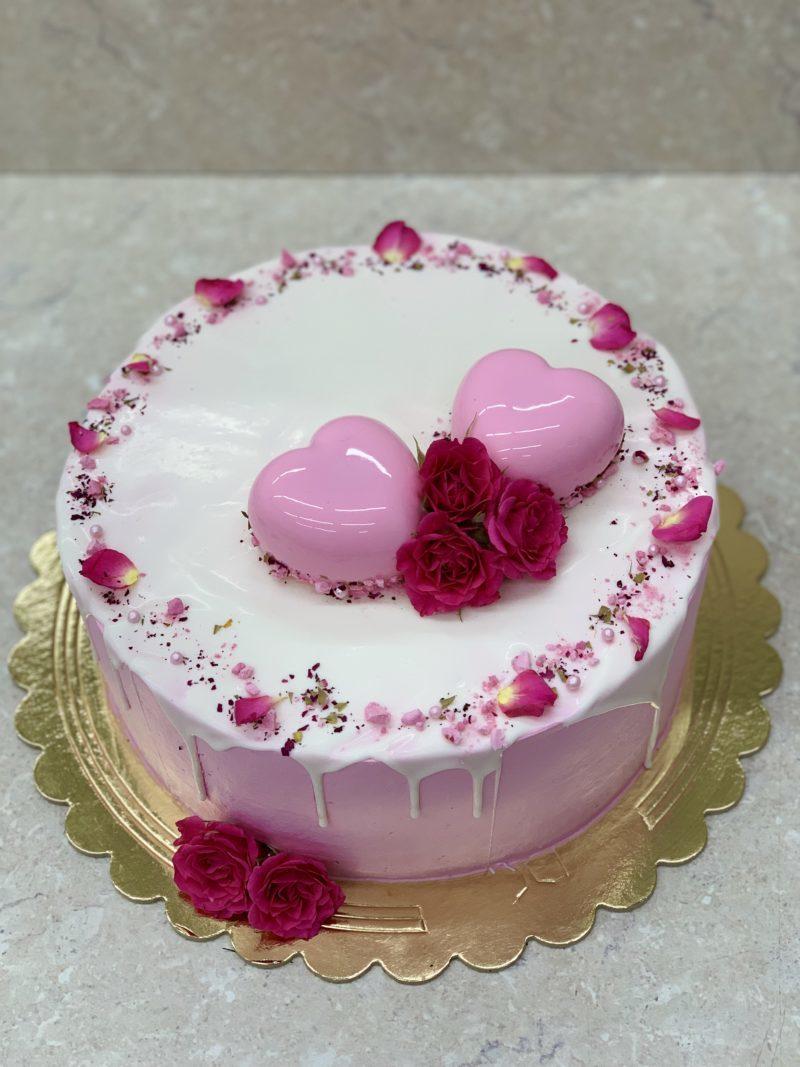 Торт Розовые сердечки