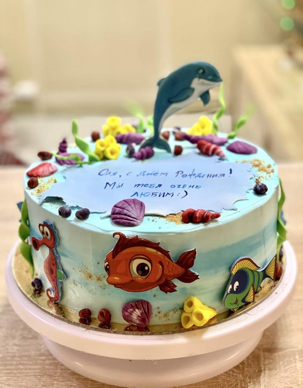 Торт Разноцветные рыбки